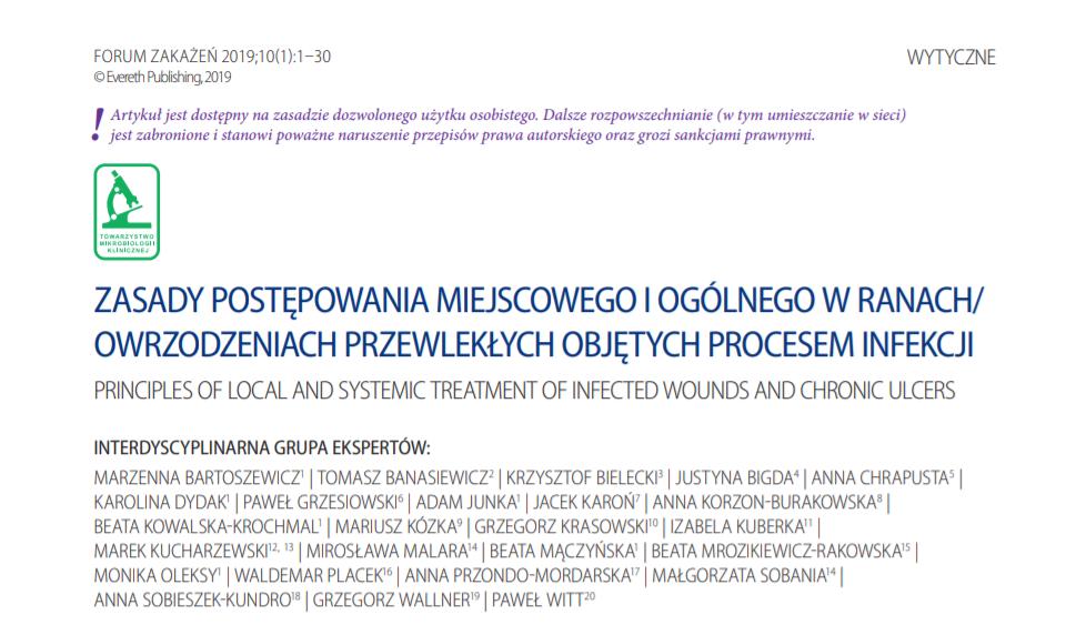 Najnowsze zasady postępowania z ranami/owrzodzeniami przewlekłymi dla lekarzy, pielęgniarek i mikrobiologów